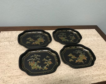 Vintage Baret Ware China Gardens Black Canape Tray - Set of 4