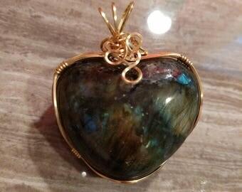 Gold Plated Labradorite Heart Pendant  #ook Reversible