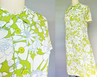 spring green / 1970s chartreuse floral print shirt dress / 12 14 large