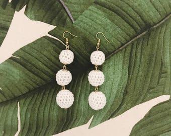 White Triple Ball Crochet Earring, Dangle Earring, Bon Bon Earring