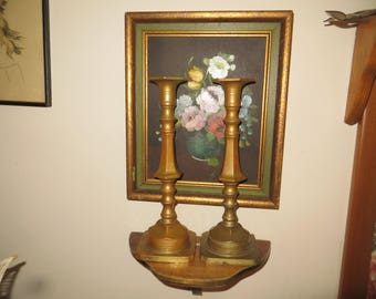 """Antique Bronze or Brass Candle Sticks, heavy metal, 11"""" tall, 4 3/4 pounds"""
