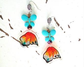 Earrings with butterflies