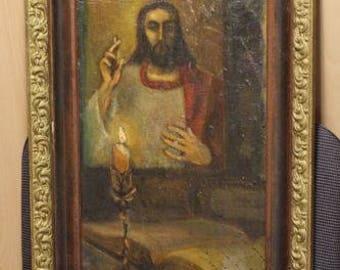 Vintage old oil painting on canvas Jesus Christ. Very RARE