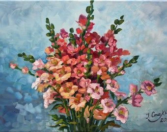 Flowers bouquet painting Floral oil canvas artwork Womens birthday gift Wall decor Fine art painting Original painting on canvas