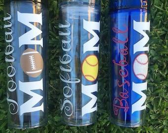 Sports Tumblers  | Baseball Tumbler | Softball Tumbler | Football Tumbler  |  Football Mom Tumbler | Softball Mom Tumbler | Gift for Moms