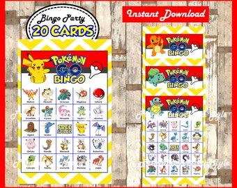 Pokemon Bingo 20 Cards, printable Pokemon Bingo game, Pokemon printable bingo cards instant download