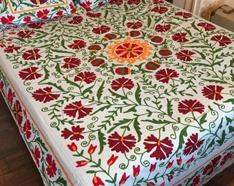 Colorful embroidery bed sheet with two pillow cases, Suzani double bed sheet