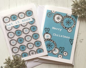 Pack of 6 Christmas cards - snowflake design Christmas cards - muktipack Christmas Cards - A6 Christmas cards