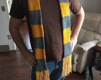 Hand Knit Fantastic Beasts Newt Scamander Hufflepuff Gold and Grey Scarf