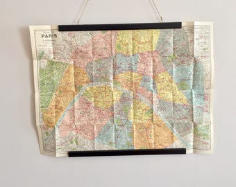 1950s vintage folding map of Paris, France is great for home decoration
