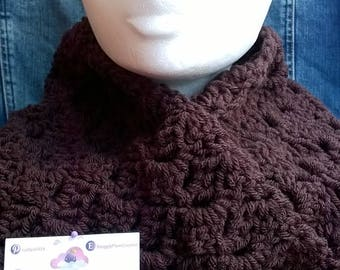 Brown, chunky yarn , scarf, wrap, cowl, gift for woman, gift for her, christmas gift