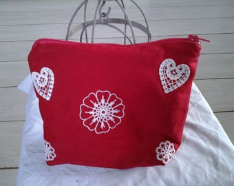 Pouch bag with Christmas red cotton canvas
