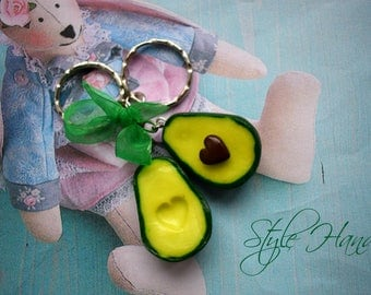 Miniature avocado, Avocado earrings, avocado, avocado from polymer clay, Avocado keychain, avocado souvenir, avocado pendant charms