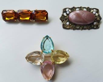 Feminine Retro Chic Brooch Pins from Grandma's Jewelry Box! Pastel Petal Pin - Orange/Amber Gemstone Pin - Light Pink and Antique Bronze Pin