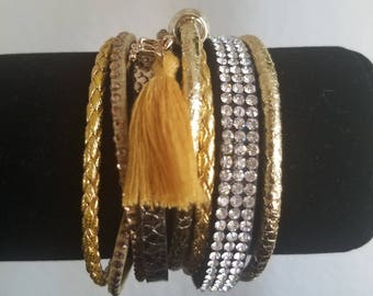 Absolutely Stunning Retro 70's/80's Gold and Black Multi Strand Magnetic Bracelet/Cuff! - Tassel Accent, Snake Skin, Black &  Gold