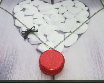 Red glitter polymer clay macaroon necklace
