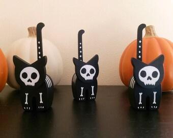 Mini Skeleton Cat    Halloween Decor    Ornamental Wooden Cat