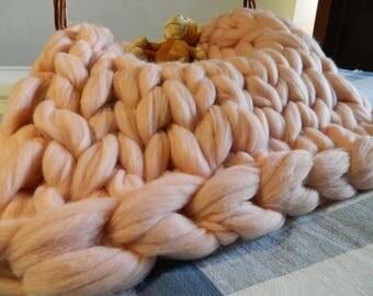 Merino Baby Blanket. Newborn Pink Blanket.  Baby Shower Gift. Pink Nursery Blanket. Photo Prop. Baby Photo Props. Extreme Knit Blanket.