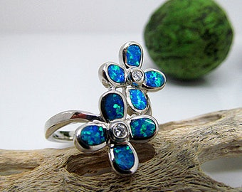 Sterling Silver Blue Opal Flower Statement Ring CZ Accent