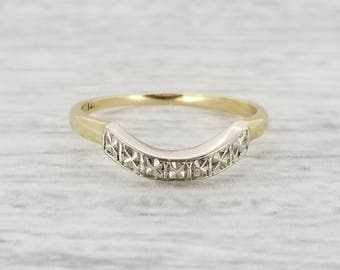 14k diamond cut curved band