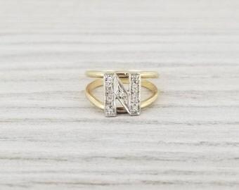 14k vintage initial N diamond ring