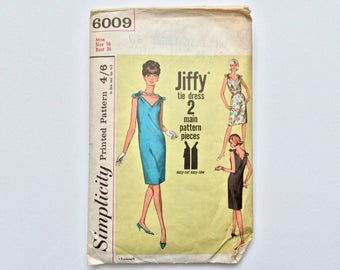 1960s B36 Dress with Ties Sewing Pattern : Simplicity 6009