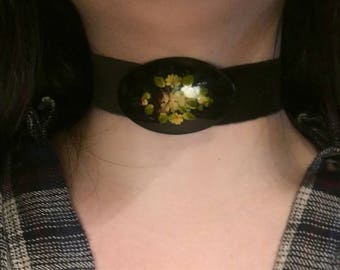 Black Velvet Choker with Removable Vintage Hand Painted Rose Floral Brooch