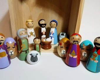 Peg Doll Nativity Set, 14 Piece Wooden Nativity Scene, Toy Nativity, Hand Painted Wooden Nativity Figurines, Holiday Decor