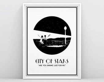 La La Land, La La Land Poster, City of stars,  Ryan Gosling, Emma Stone, La La Land Movie, Art Deco, Black and White, Silhouette, Printable