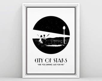 La La Land, La La Land Poster, City of stars,  Ryan Gosling, Emma Stone, La La Land Movie, Art Deco, Black and White, Silhouette, Printable