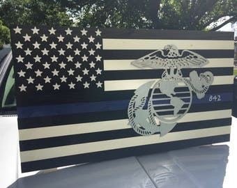 Thin Blue Line Wood Flag Marine Corps USMC Air Force Army Navy Wood Police Flag Cop Fireman Firemen Thin Red Line Wooden Flag US Flag