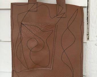 Genuine leather doodle stitching  tote bag--Batooli Bags