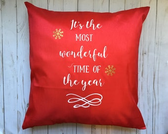 Its The Most Wonderful Time Of The Year Christmas Throw Pollow Cover, Christmas Throw Pillow Cover, Red Christmas Throw Pillow
