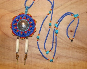 Native American Beaded Rosette Necklace Beaded Medallion Necklace Beaded Rosette Medallion Necklace Beaded Powwow Necklace Beaded Neckpiece