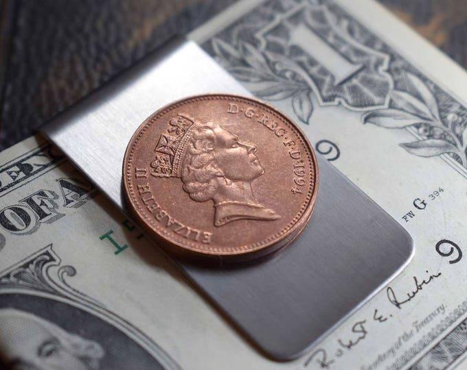 1994 Great Britain, 2 Pence Coin Money Clip, Free Gift Bag, 23rd Anniversary, 1994 Birthday Gift, Elizabeth, 23rd Birthday, 1994 Anniversary