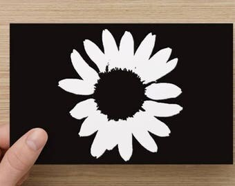 Black Silhoiuette of a Flower Greeting Card Flat Card Set of 10