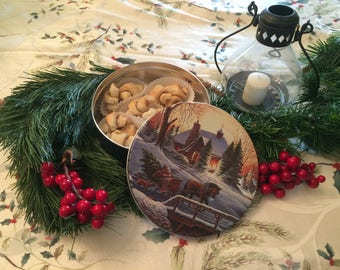 Rugelach Cookies in a Christmas Cookie Tin, Cookie Care Package, Nut Free Christmas Cookie Tin, Christmas Cookie Gift Basket, Hostess Gift
