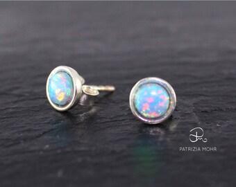 Opal lab, light blue earrings, Silverearrings, Studs