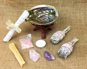 10 Piece Large Smudge Kit: 2 White California Sage, Abalone Shell, Wood Stand, Palo Santo, Amethyst, Rose Quartz, Candle Salt + Instructions