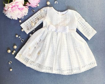 Cute lace dress, organic cotton baby girl's christening gown, baptism gown, off white church dress, communion girl's dress, infant baptism