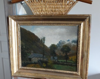 Painting of a painting of 1887 signed Montespan parts Haute Garonne France castle ruins