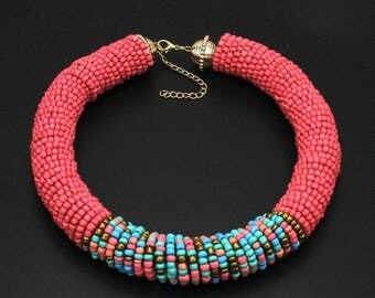 Pink and Multi Coloured Beaded Chunky Choker Necklace