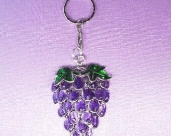 64mm*46mm*9mm, Purple Grapes Pendant Keychain