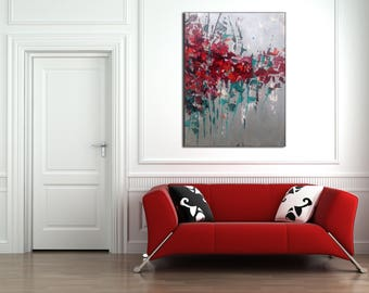 FLORAL ABSTRACT PAINTING Custom Unstretched XLarge Canvas Art Modern Art Abstract Painting Wall Decor silver painting Red Flowers Painting
