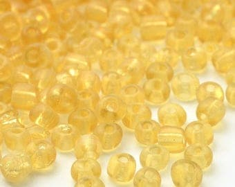 10g of 4mm lemon yellow straw transparent seed beads