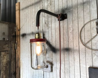 Lamp industrial globe red applique