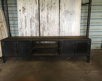 Row of industrial style steel table