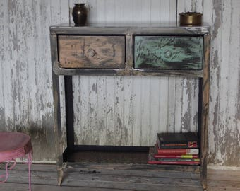 industrial console table in colors