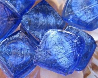 2 beads 22 x 27 mm Venetian glass silver leaf.
