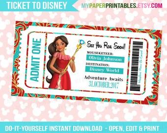 Elena of Avalon Princess Printable Ticket To Disney DIY Personalize INSTANT DOWNLOAD Disney World Disneyland Surprise Disney Frozen